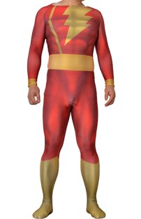 Shazam Captain Marvel Printed Spandex Lycra Costume with 3D Muscle Shading