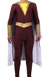 Shazam Printed Spandex Lycra Costume with Rubber Details and Cape