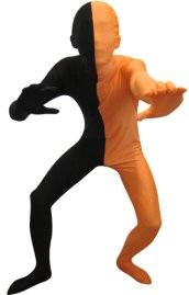 Split Zentai | Black and Orange Spandex Lycra Zentai Suit