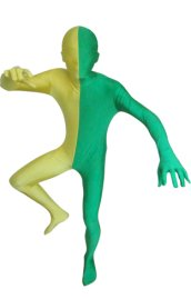 Split Zentai | Green and Yellow Spandex Lycra Zentai Suit