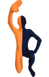 Split Zentai | Orange and Navy Spandex Lycra Zentai Suit
