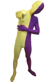 Split Zentai | Purple and Yellow Spandex Lycra Zentai Suit
