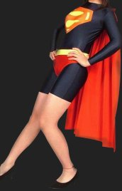 Super Women Lycra Spandex Zentai Suit with Cape ( No Hood and H