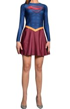 Supergirl Printed Spandex Lycra Dress with Cape