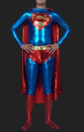 Superman! Blue and Red Shiny Metallic Super Hero Zentai with Cap