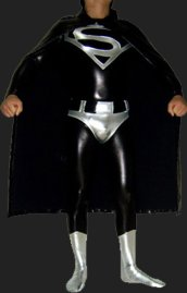 Superman Costume | Black and Silver Shiny Zentai Suit with Cap