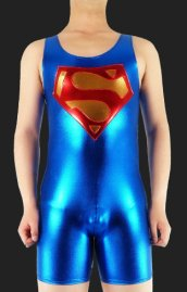 Superman Costume | Blue and Red Shiny Metallic Leotard