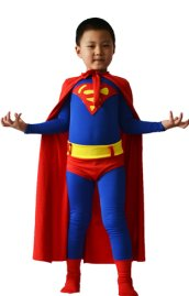 Superman Costume for Kid | Red and Blue Spandex Lycra Zentai Suit with Cape