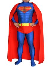 Superman Costume | Printed Spandex Lycra Zentai Suit with 3D Muscle Shading with Cape