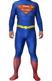 Superman Original Printed Spandex Lycra Costume with 3D Muscle Shading