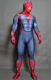 The Vision AOU Printed Spandex Lycra Costume with Cape