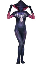 Venom Gwen Printed Spandex Lycra Costume with 3D Shading