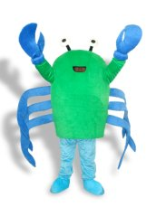 White ,Black ,Blue And Green Short-furry Crab Mascot Costume