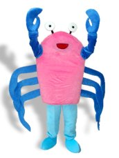 White ,Black ,Blue And Pink Short-furry Crab Mascot Costume