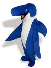 White ,Black, Blue And Pink Short-furry Sea Animal Mascot Costume