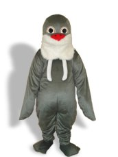 White, Black,Red And Dark Grey Short-furry Sea Animal Mascot Costume