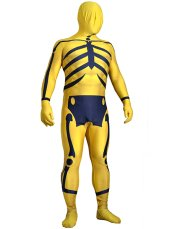 Yellow and Dark Blue Skeleton Printed Zentai Suit