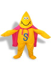 Yellow,Blue,White, pink And Black Short-furry Sea Animal Mascot Costume
